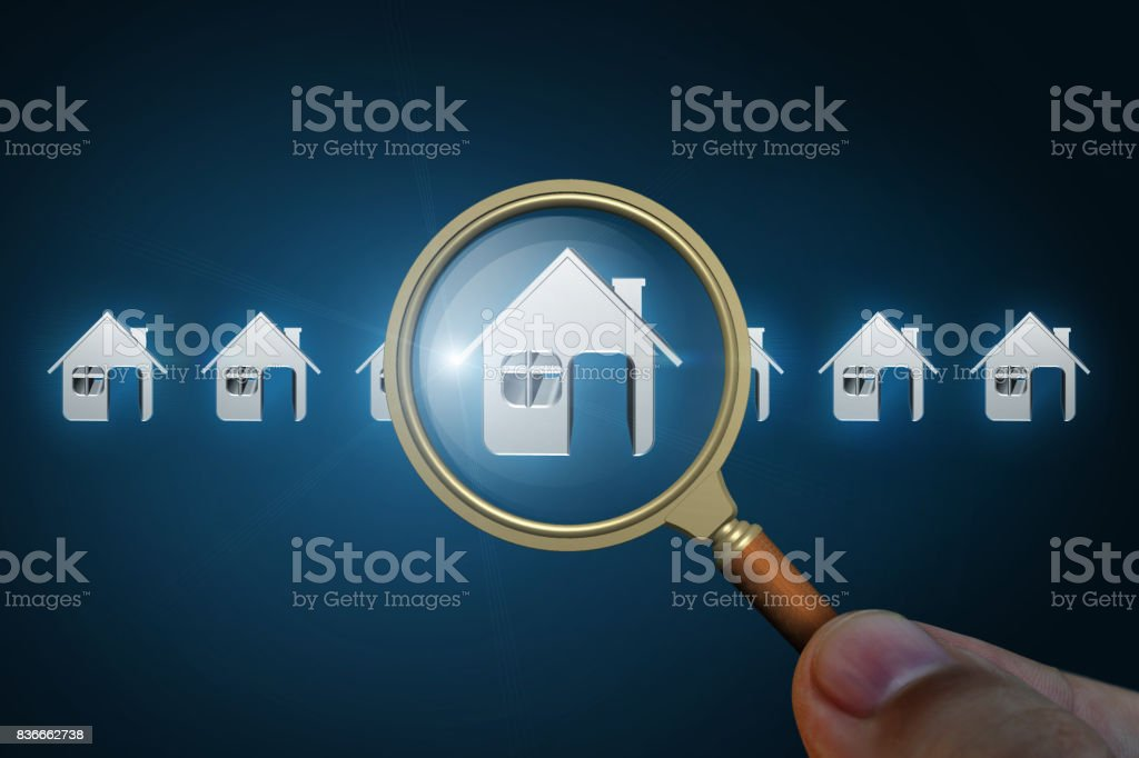 Choice of the house in a search result. stock photo