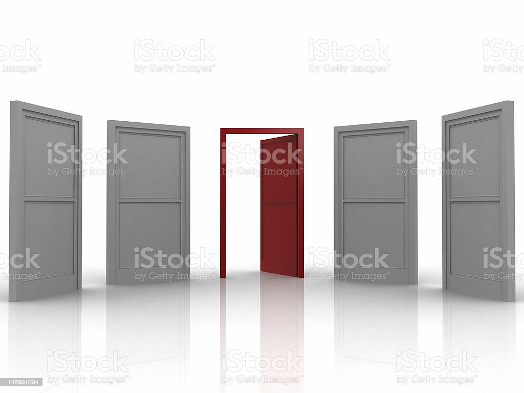 Choice 3d render of a array of doors, red one representing the choice Abstract Stock Photo