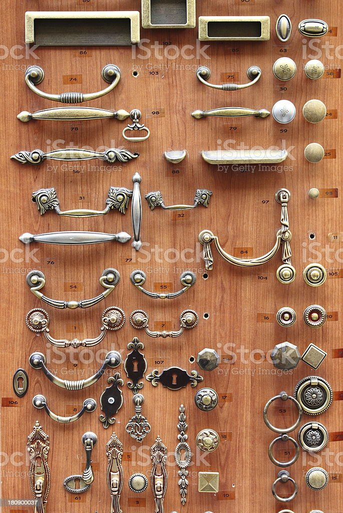 Choices of bronze and brass door knobs stock photo