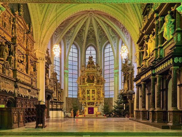 Choir and altar of Celle city church, Lower Saxony, Germany stock photo