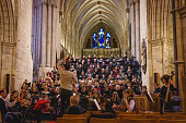 A choir practicing in the Southwark Cathedral in London (UK).