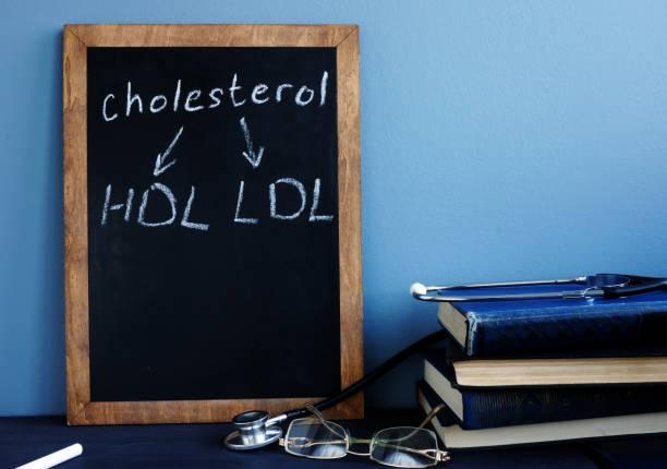 cholesterol hdl ldl written on a blackboard. - cholesterol zdjęcia i obrazy z banku zdjęć