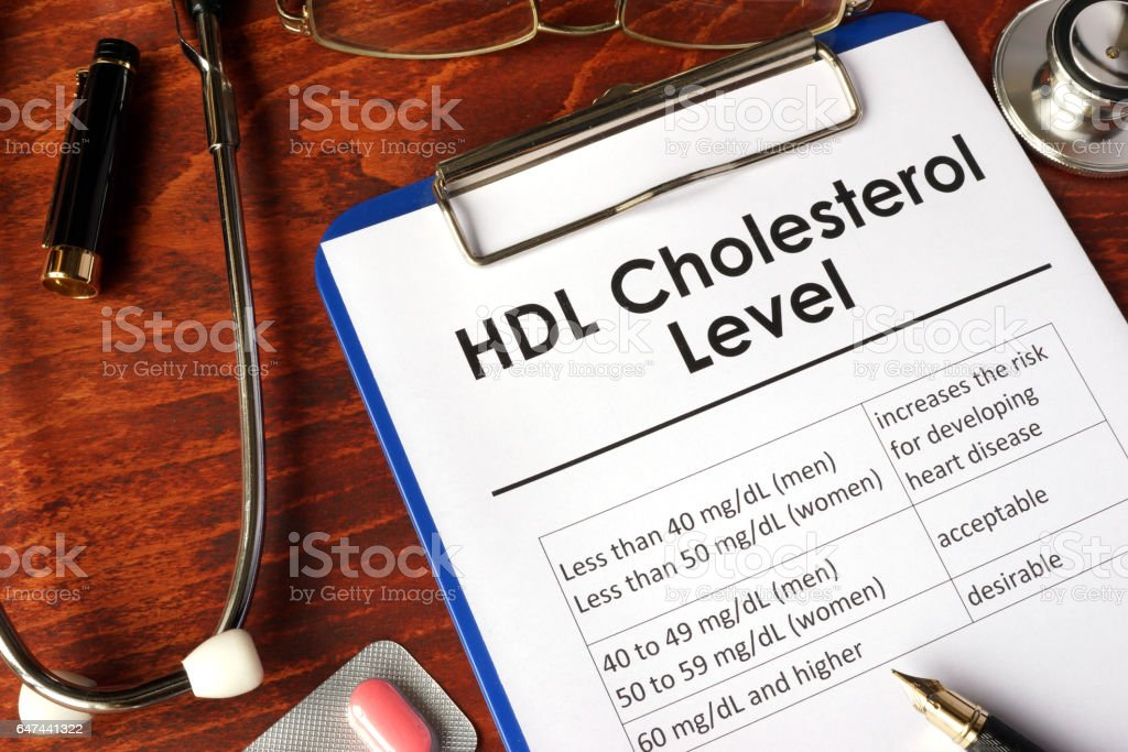 HDL (Good) Cholesterol level chart on a table. stock photo