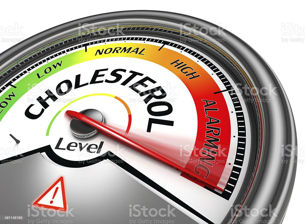cholesterol level conceptual meter stock photo