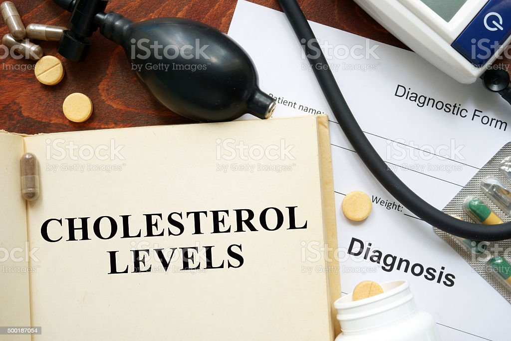 Cholesterol levels written on a book. Medical concept. stock photo