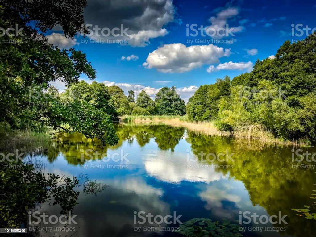 Cholmondeley reflective Garden Lake stock photo