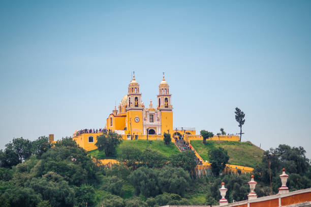 Cholula church Cholula church at the top of an ancient pyramid puebla state stock pictures, royalty-free photos & images