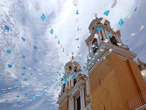 Cholula Decorated catholic church on top of pyramid in Cholula/Puebla/Mexico. Nuestra SeAora de los Remedios. puebla state stock pictures, royalty-free photos & images