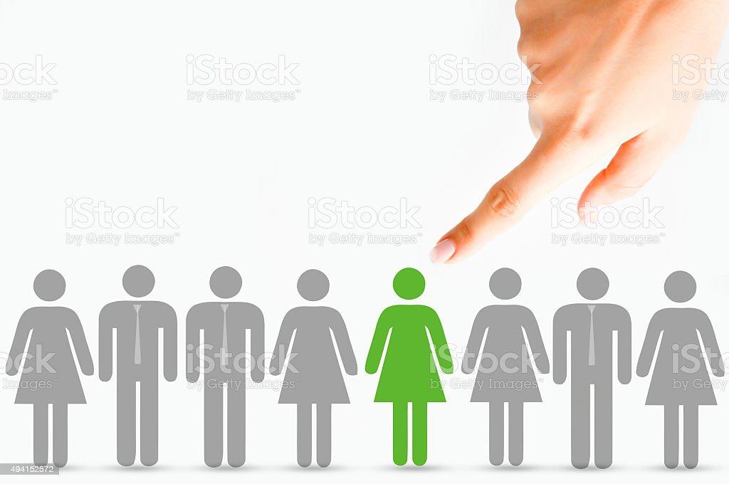 Wählen Sie Kandidaten, die Personalabteilung und Beschäftigung-Konzept auf weißem Hintergrund. – Foto