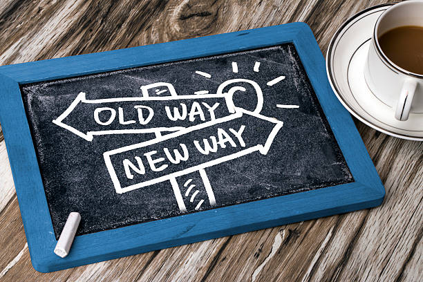 choose new way concept hand drawing on blackboard stock photo