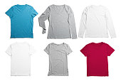 6 different laying-down t-shirts isolated on white.  All of those have natural shadow behind. Easy to change color for any of those in photoshop.