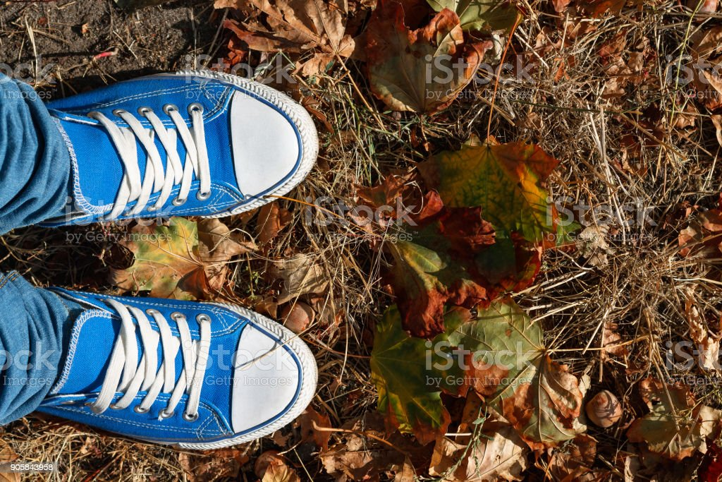 Choose the best A conceptual picture illustrating the teenager's problem in the life choices. Legs in blue sneakers and blue jeans stand at the beginning of the road on the autumn foliage stock photo