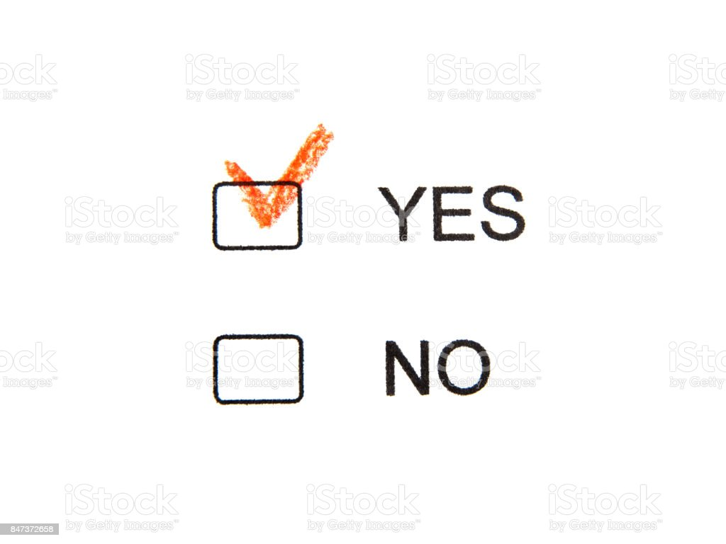 Choose Yes not No by red pencil stock photo
