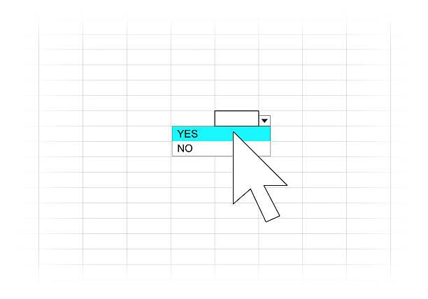 Choose YES or NO option on worksheet stock photo