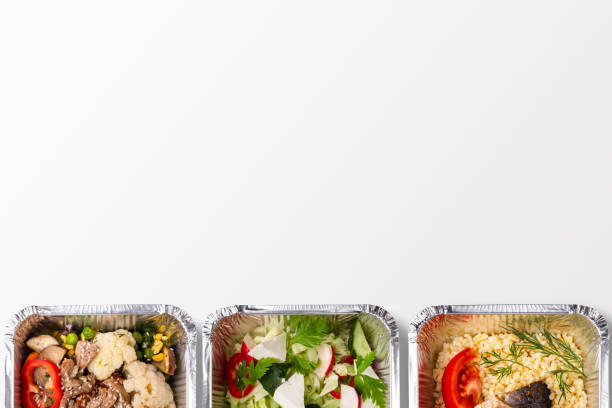 Choose your lunch - concept menu , top view, mockup, copy space Healthy lunch in foil boxes menu concept, top view, isolated, mockup food state stock pictures, royalty-free photos & images