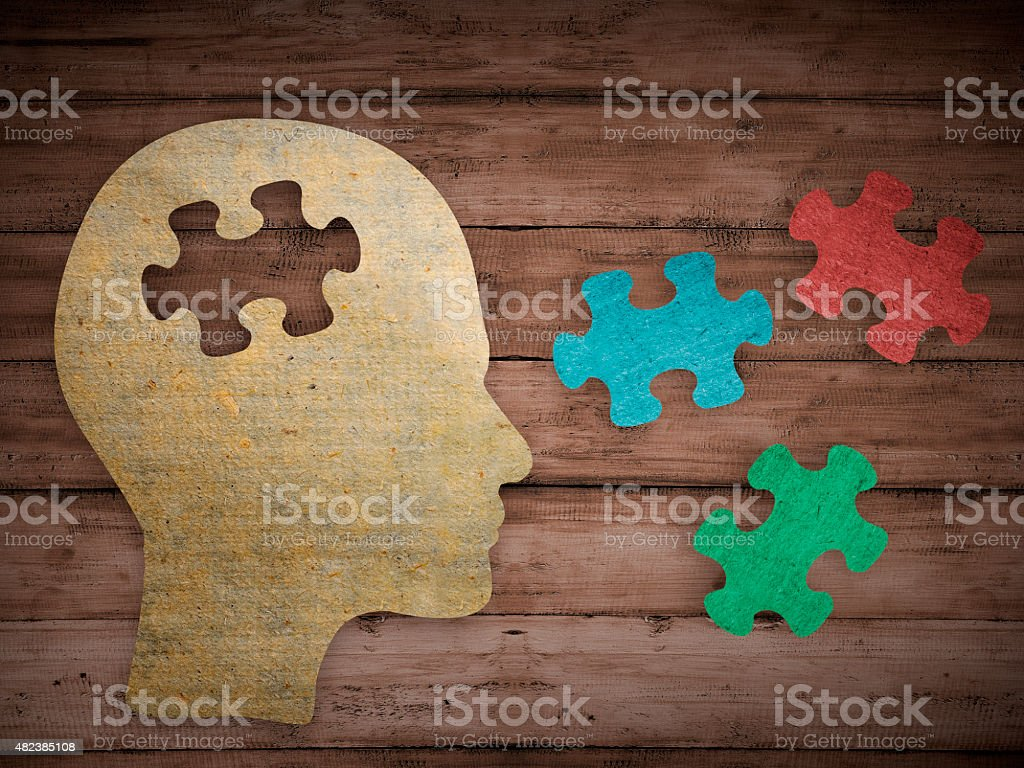 Choose your personality that matching you Puzzle head brain concept. Human head profile made from brown paper with a jigsaw piece cut out. Choose your personality that suit you 2015 Stock Photo