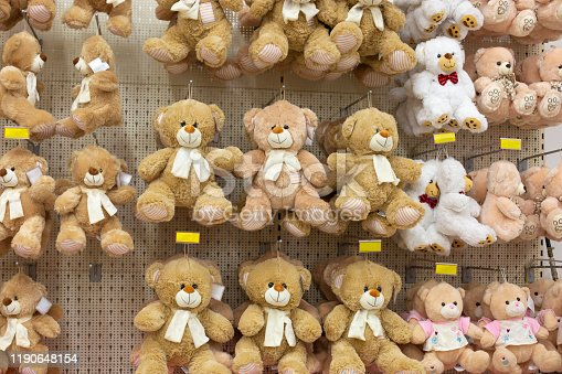 Large collection of Teddy Bear dolls in a shop
