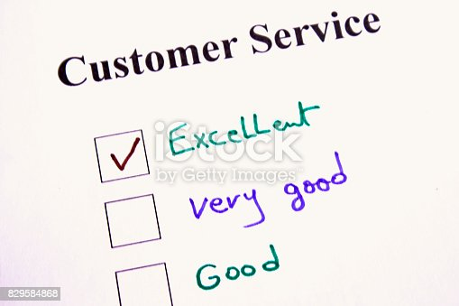 chooses excellent on a customer service survey