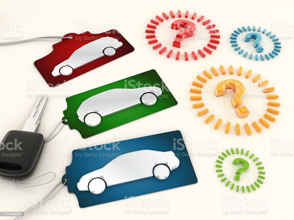 Choosing a new car stock photo