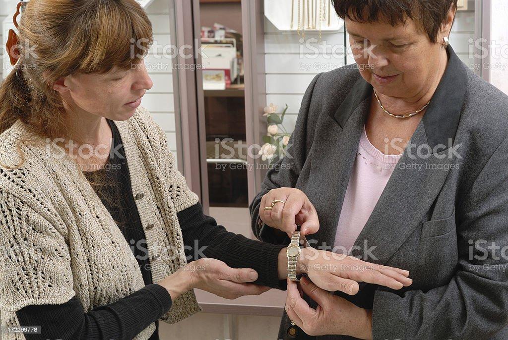 Choosing a watch royalty-free stock photo