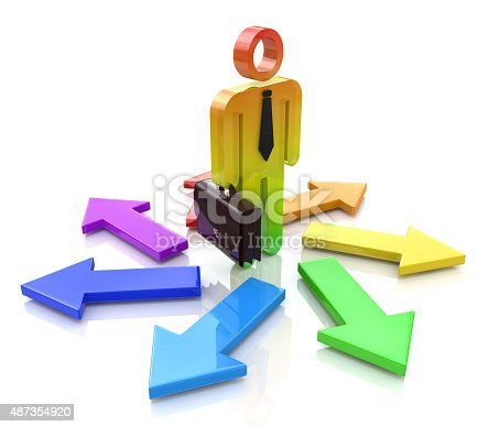 469720582 istock photo Choosing a Way. 3d people - person and arrows. Direction 487354920