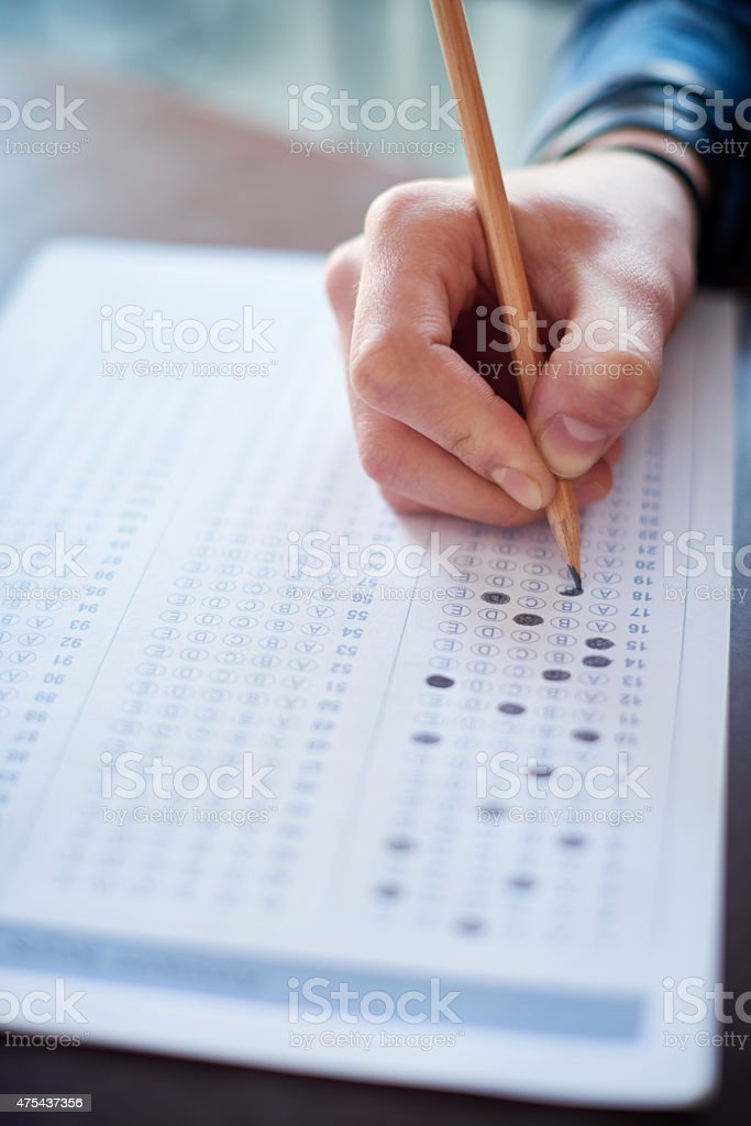 Choosing answers to questions stock photo
