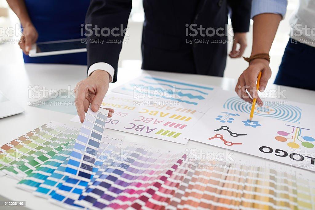 Choosing color palette stock photo