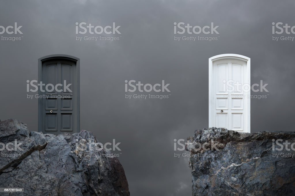 Choosing door stock photo
