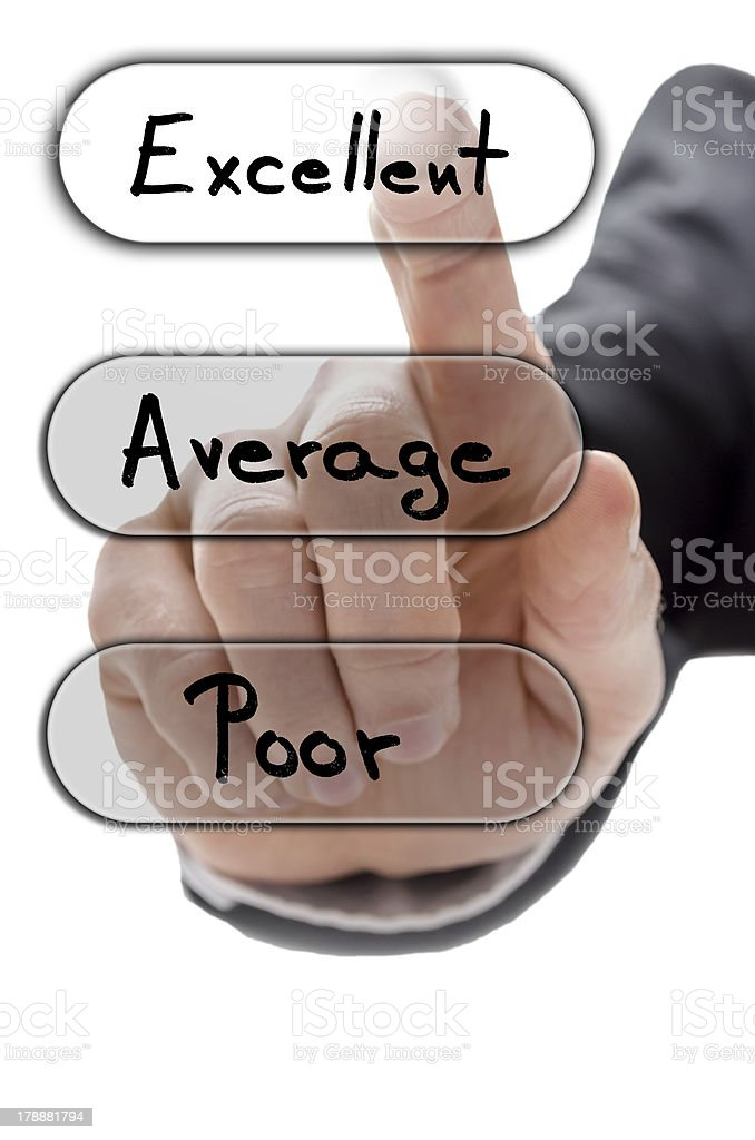 Choosing excellent on customer service evaluation form royalty-free stock photo