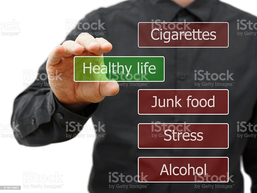 Choosing healthy life stock photo