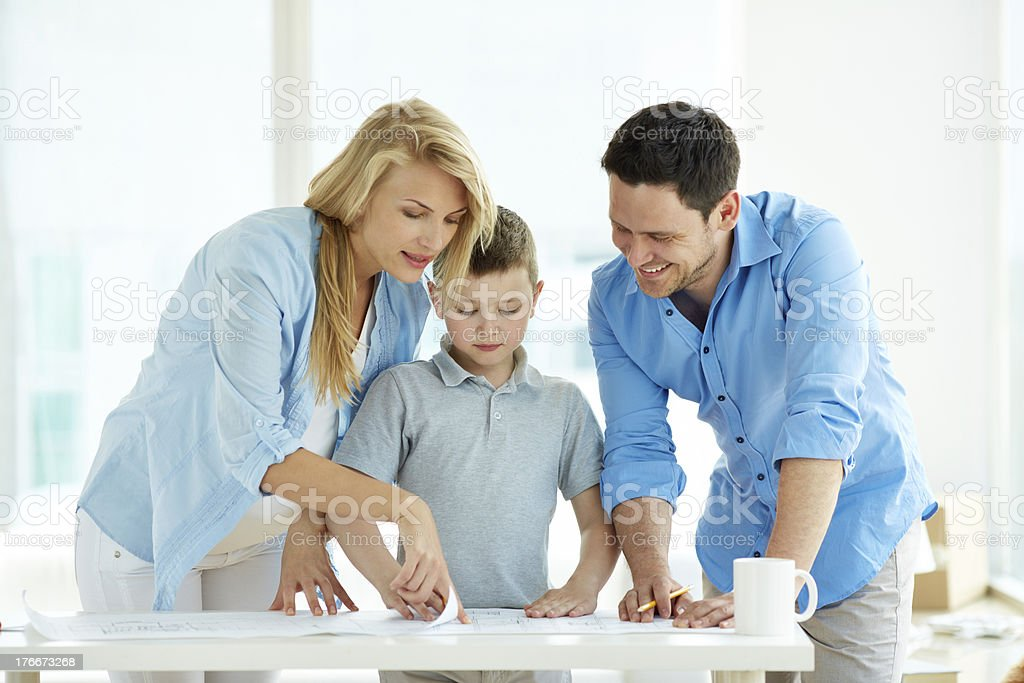Choosing plan of new flat royalty-free stock photo