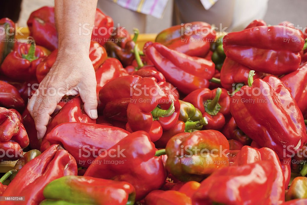 Choosing Red Peppers royalty-free stock photo