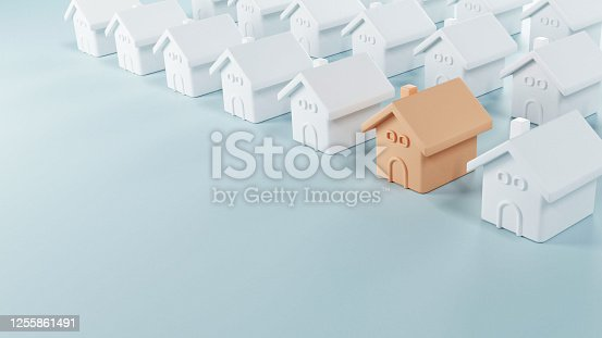 915688450 istock photo Choosing the best real estate property, New home in a housing development or community. 1255861491