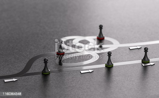 3D illustration of green pawns choosing the best way forward instead of the worst one. Right path concept