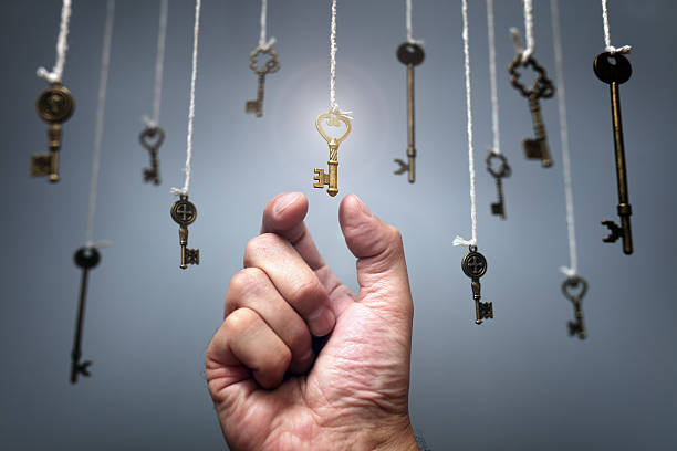 Choosing the key to success - foto de stock