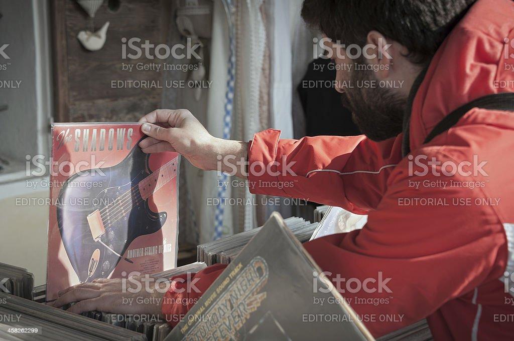 Choosing the record stock photo