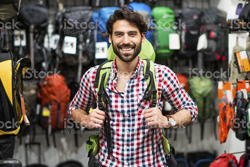 Choosing the right backpack stock photo