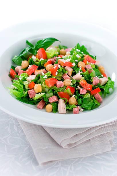chop-salat - käse wurst salat stock-fotos und bilder
