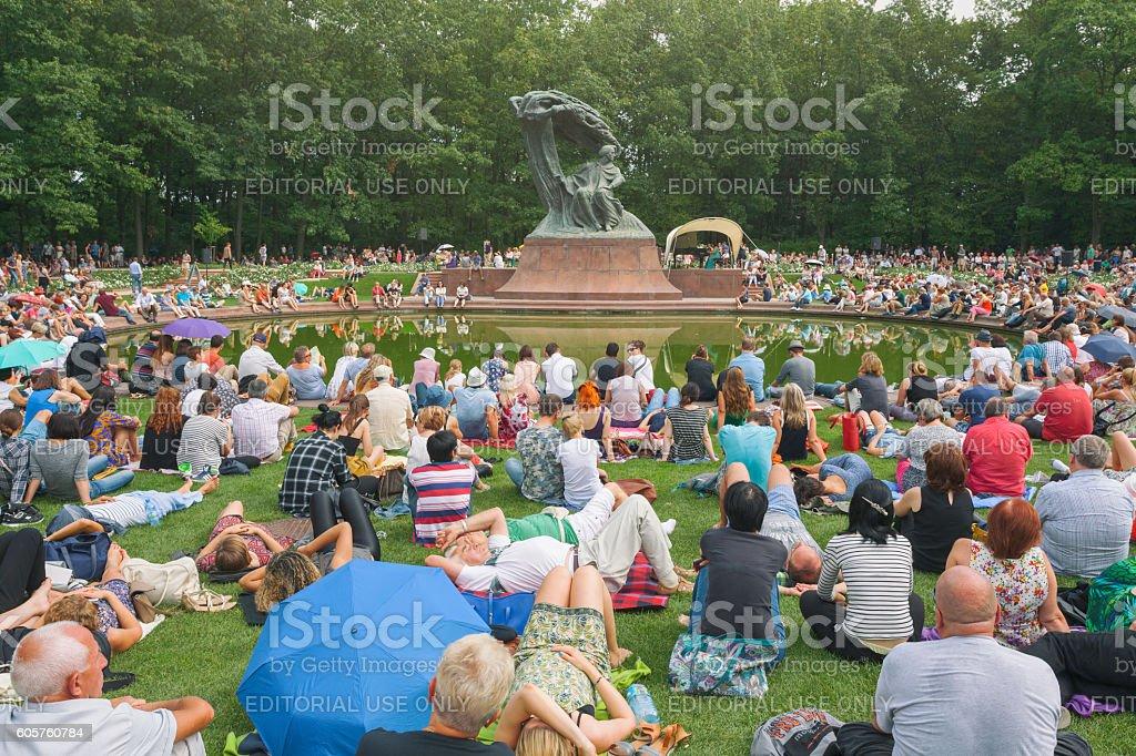 Chopin concert in Lazienki Park stock photo