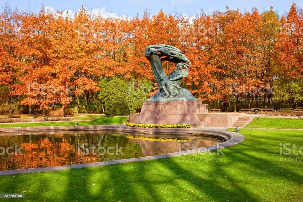 Chopin Monument in Warsaw stock photo