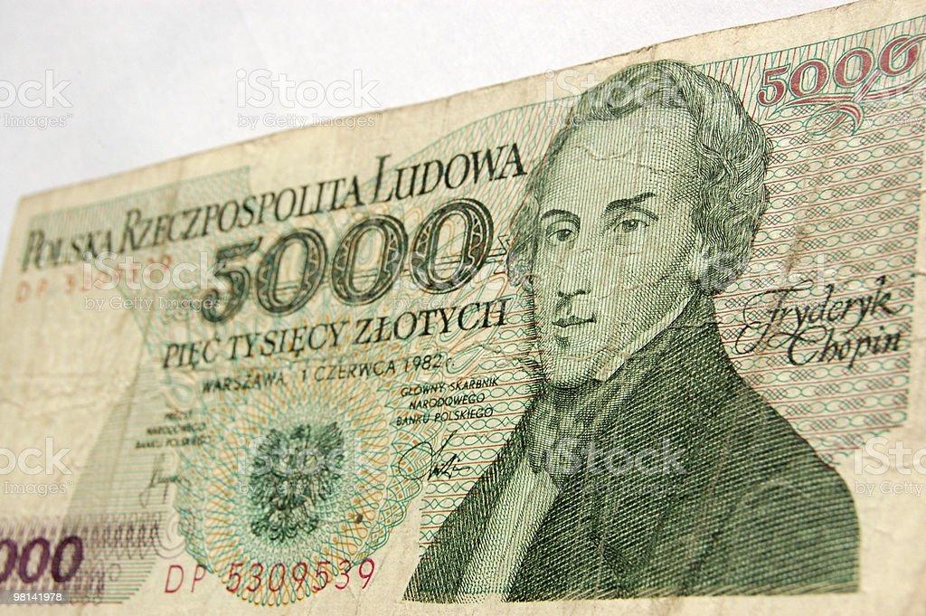Chopin on Polish banknote royalty-free stock photo