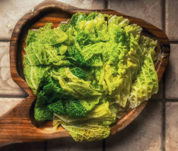 chopped boiled savoy cabbage stock photo