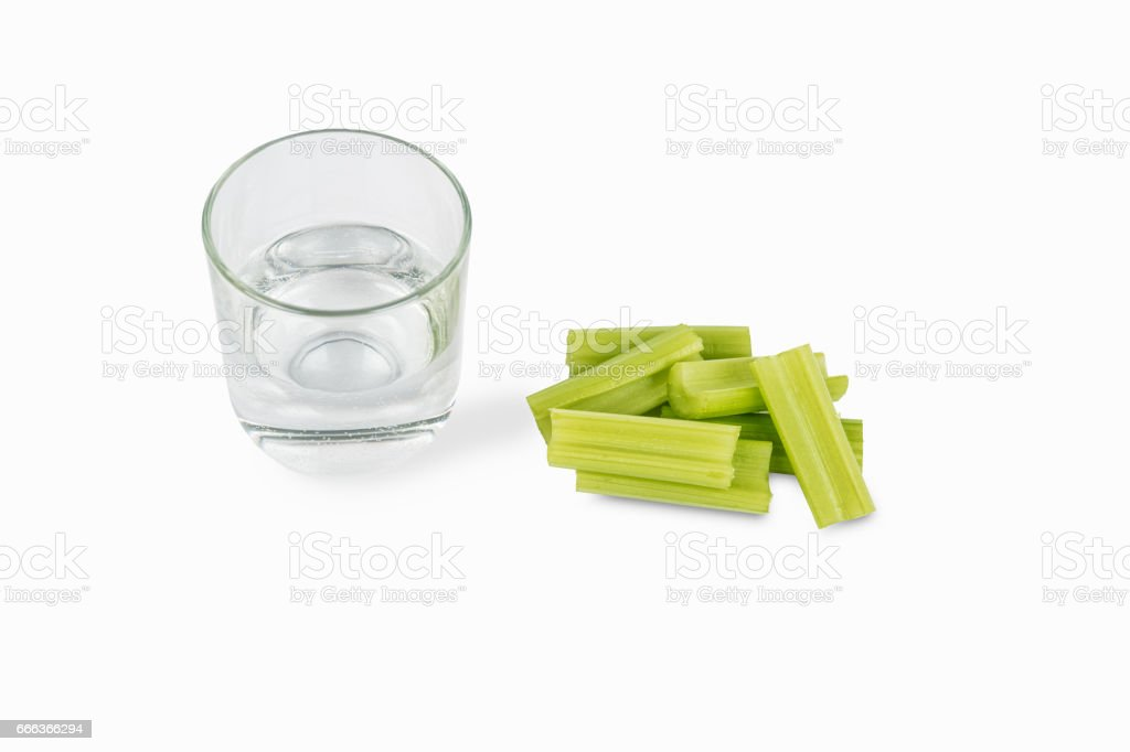 Chopped Celery And Glass Of Water Isolated On White Background Stock Photo Download Image Now Istock