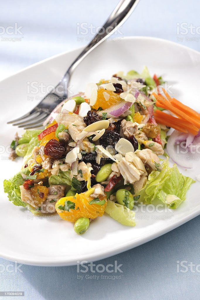 Chopped Chicken Salad with Citrus and edamame stock photo