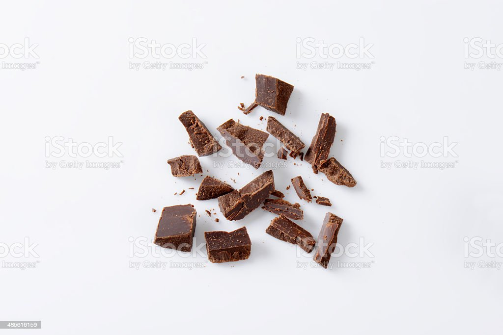 chopped chocolate stock photo