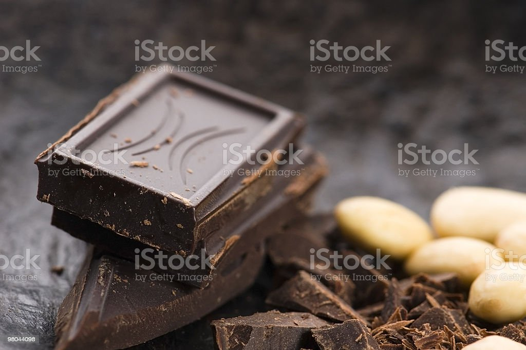 Chopped chocolate with sweet almonds. delicious royalty-free stock photo