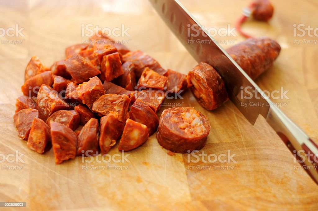 Chopped Chorizo stock photo