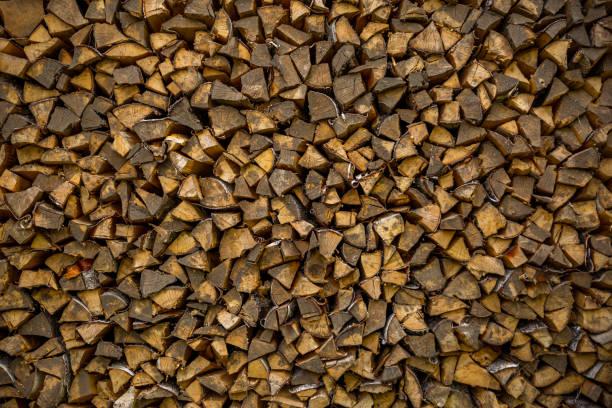 Chopped firewood background stock photo