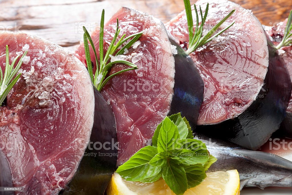 Chopped fresh tuna stock photo