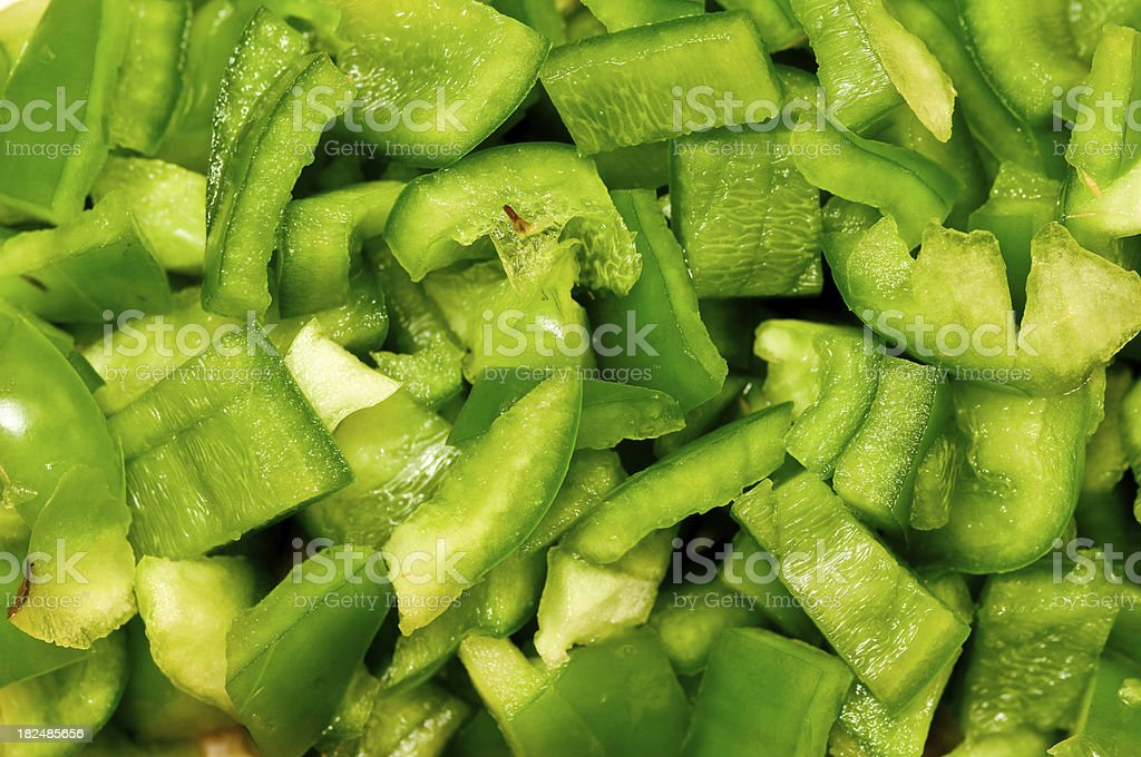 Chopped Green Bell Pepper stock photo